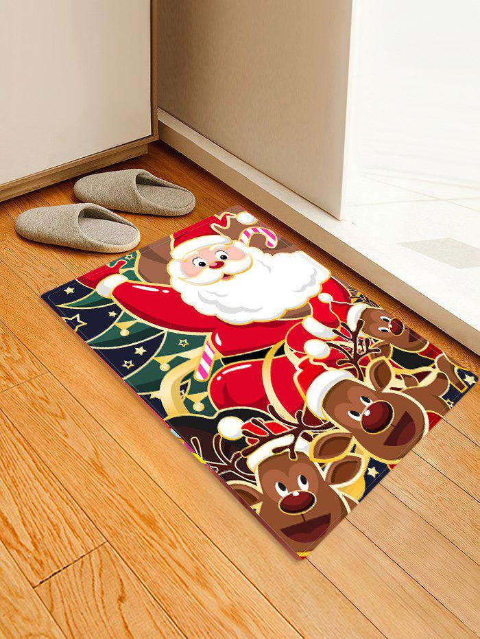 Christmas Santa Claus Elks Pattern Water Absorption Area Rug - multicolor W24 X L31.5 INCH