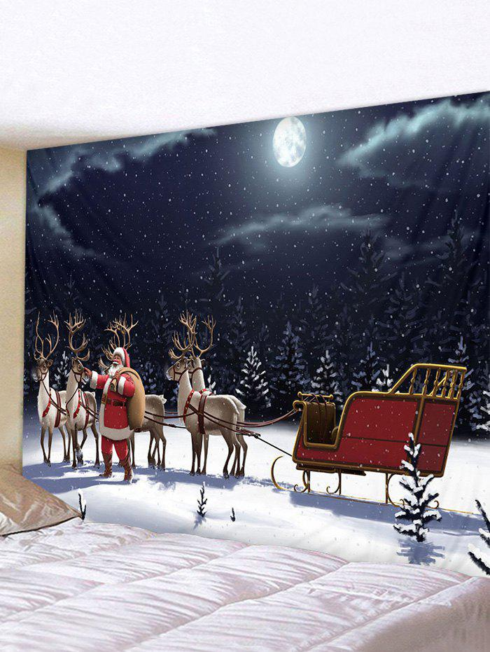 Christmas Night Elk Sleigh Print Tapestry Wall Hanging Art Decoration - multicolor W59 X L51 INCH