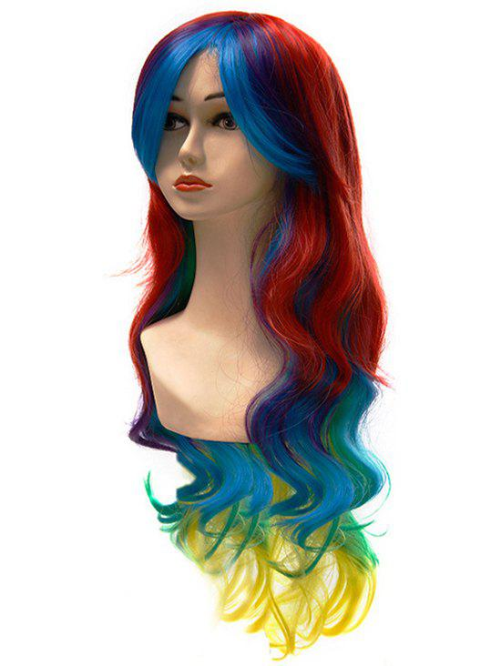 Cosplay Synthetic Party Side Bang Long Wavy Wig - LAVA RED