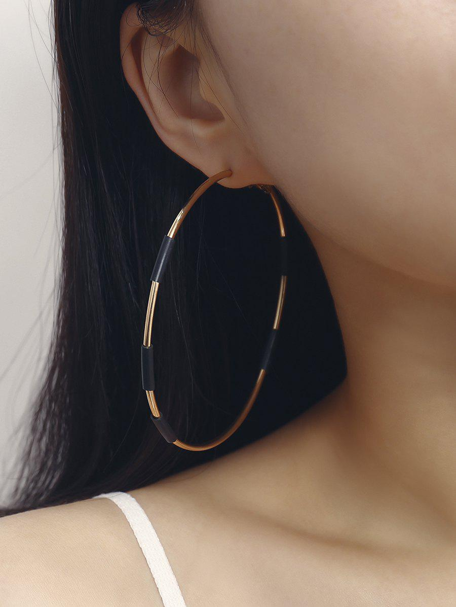 Metal Big Two Tone Hoop Earrings - GOLD