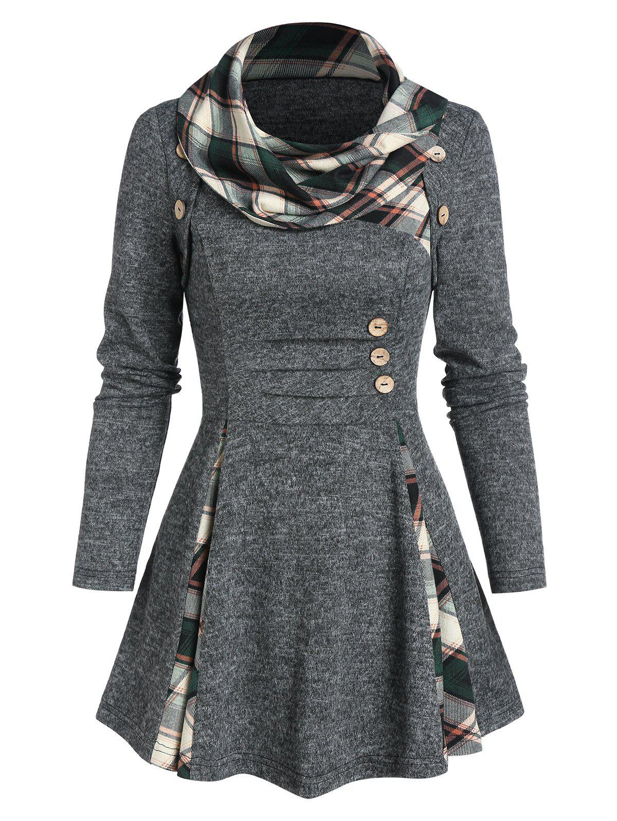 Plaid Print Ruched Mock Button Flare Sweater - CARBON GRAY 3XL