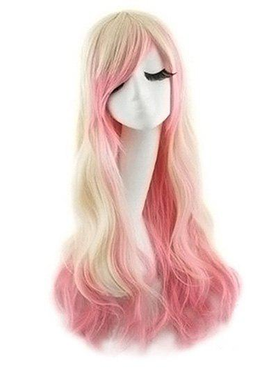 Side Bang Body Wave Ombre Long Synthetic Cosplay Wig - ROSE