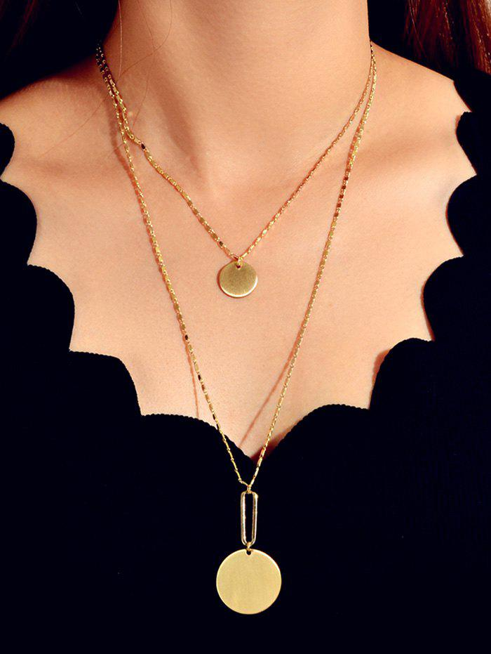 Double Layer Disc Chain Necklace - GOLD