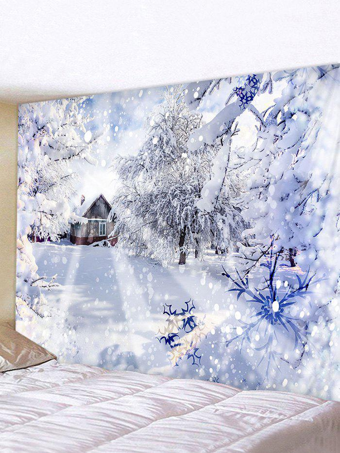 Christmas Snow Forest House Print Tapestry Wall Hanging Art Decoration - multicolor W91 X L71 INCH