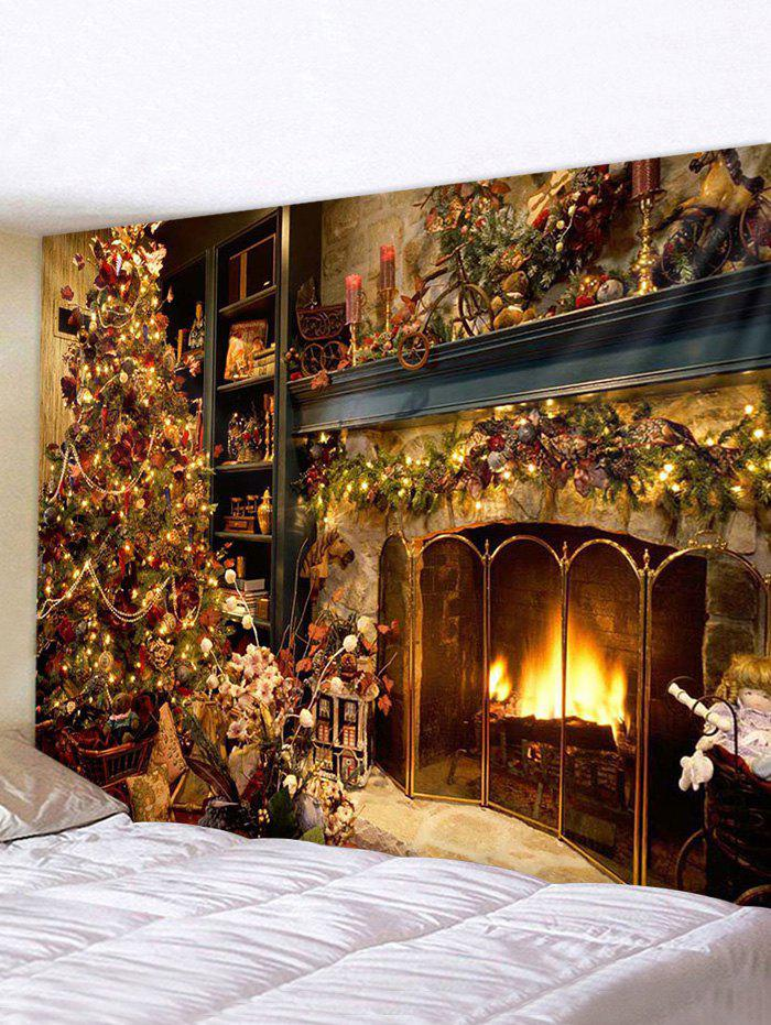 Christmas Tree Fireplace Printed Tapestry Wall Hanging - multicolor W79 X L71 INCH