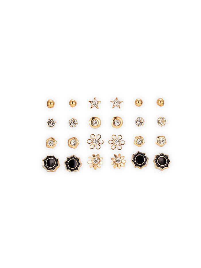 12 Piece Rhinestone Floral Star Round Stud Earrings Set