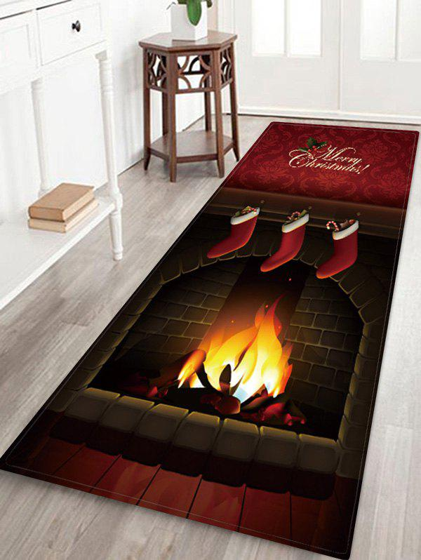 Christmas Fireplace Greeting Pattern Water Absorption Area Rug - multicolor W24 X L71 INCH