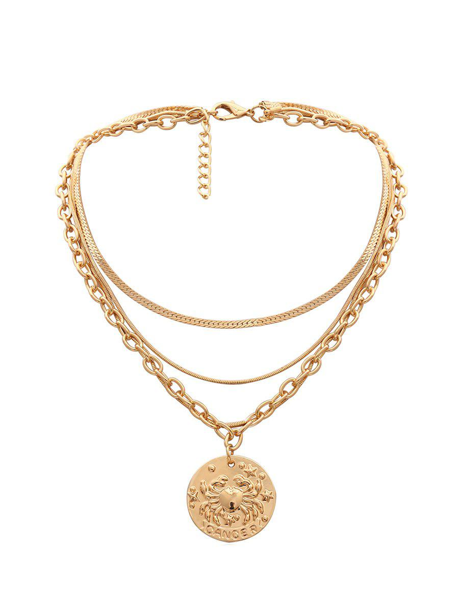 Pendant Engraved Crab Multilayered Necklace - GOLD