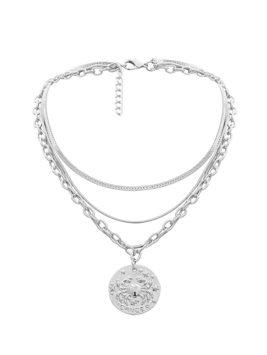 Pendant Engraved Crab Multilayered Necklace - SILVER
