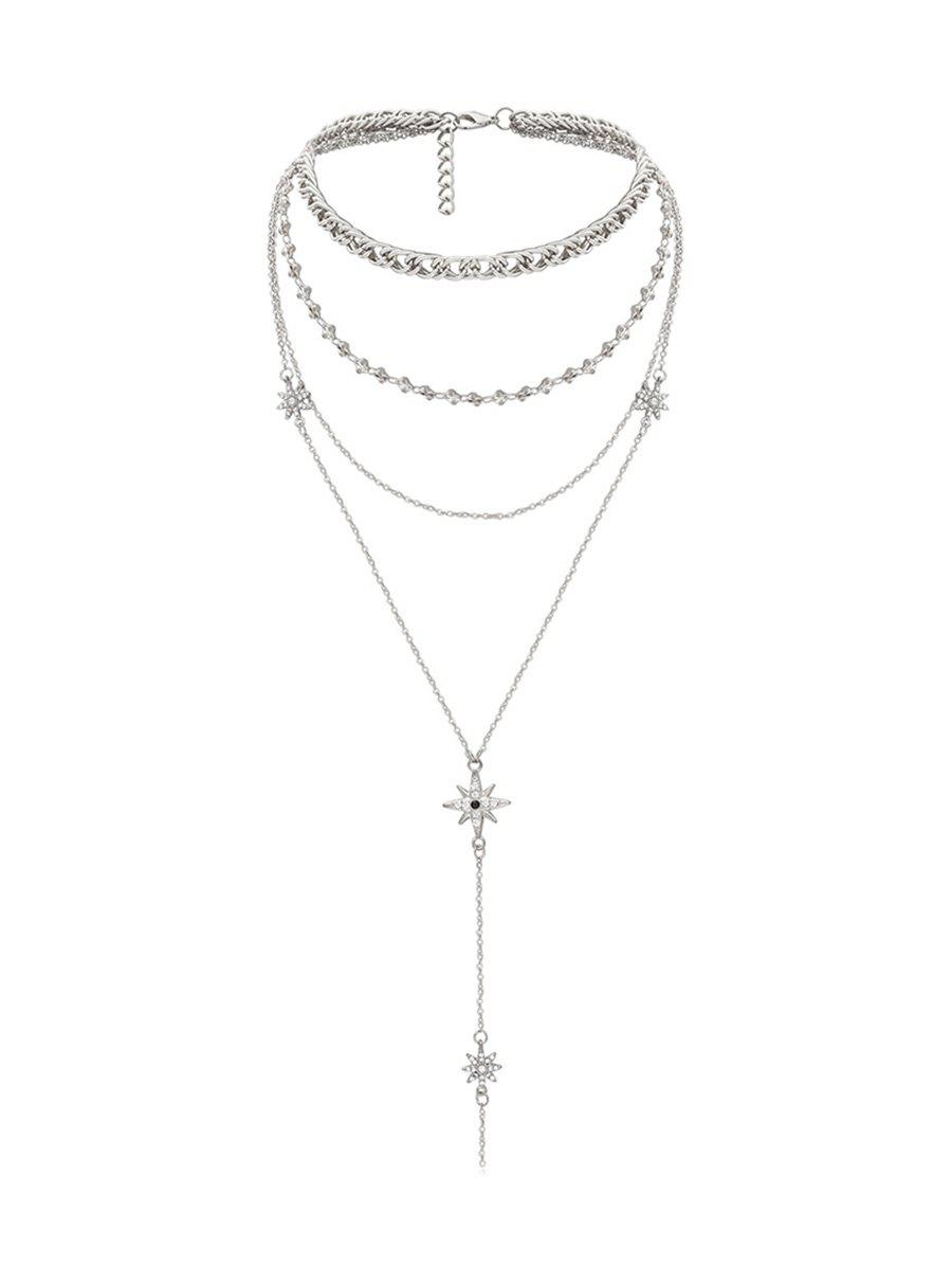 Rhinestone Star Pendant Multilayered Necklace - SILVER