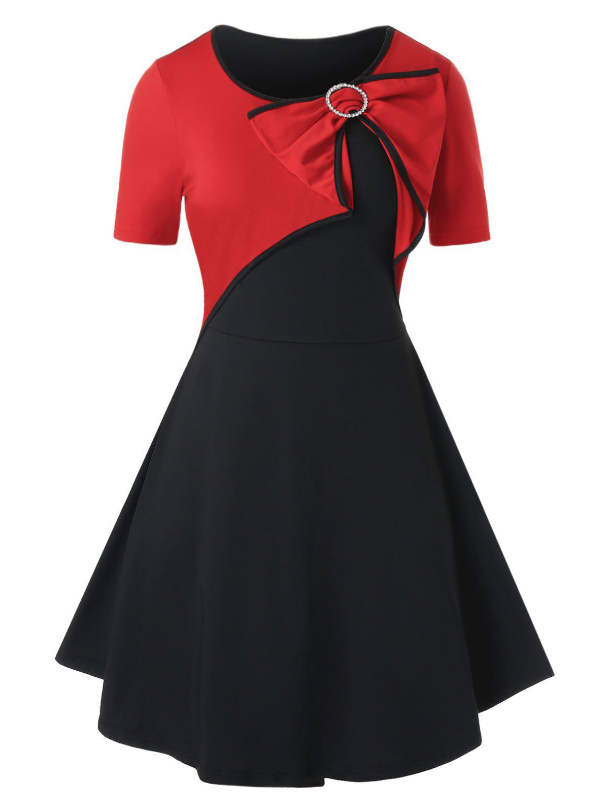 Plus Size Bowknot Two Tone Piping Dress - RED 4X