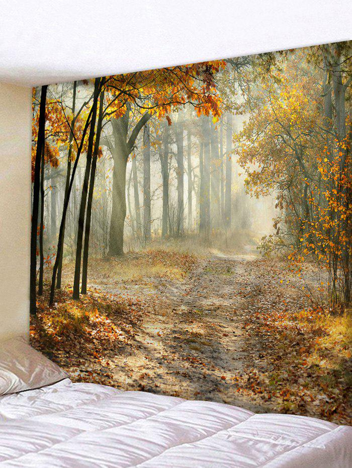 Mist Maple Forest Trail Print Tapestry Wall Hanging Art Decoration - BURLYWOOD W71 X L91 INCH
