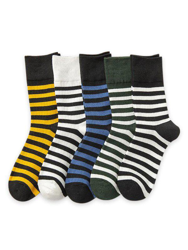 5Pairs Sports Striped Print Socks Set - multicolor A