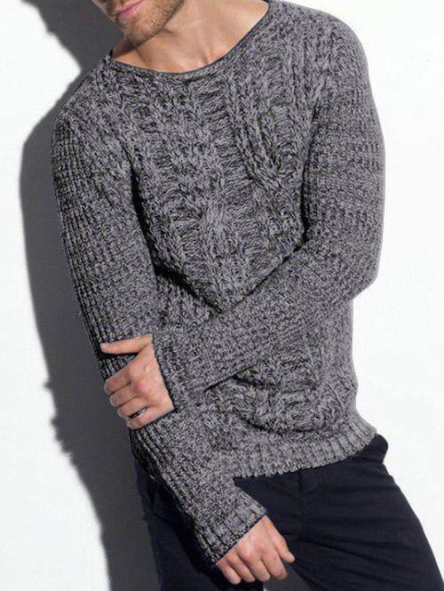 Cable Knit Heather Pullover Sweater - DARK GRAY S