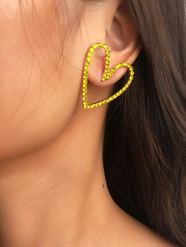 Rhinestone Heart Hollow Out Stud Earrings - GOLD
