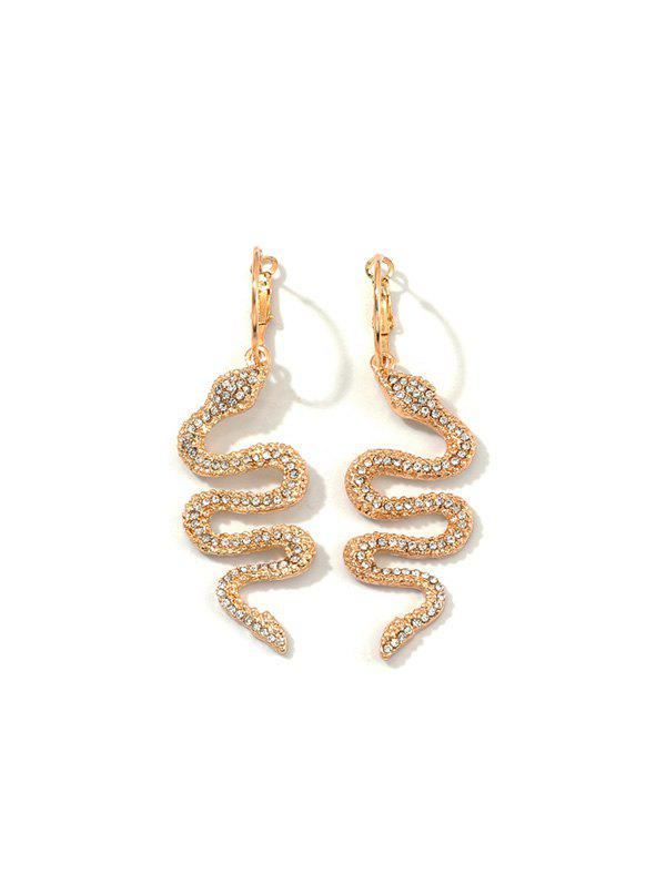 Full Rhinestone Snake Clip Earrings - GOLD