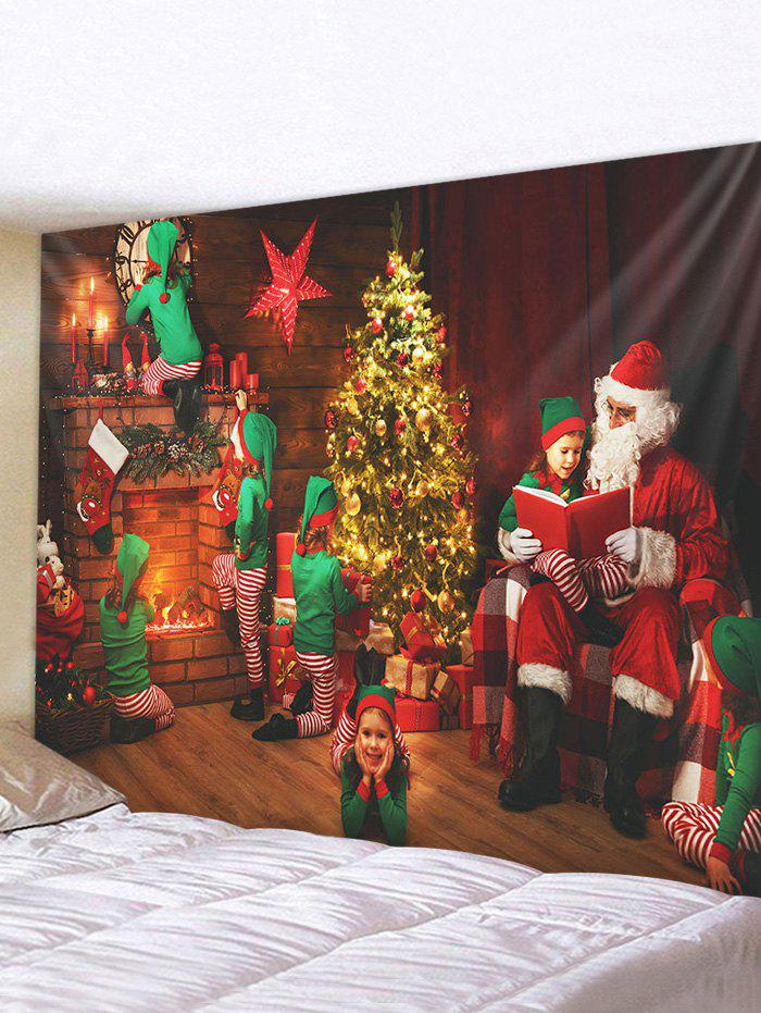 Christmas Tree Santa Claus Elf Print Tapestry Wall Hanging Art Decoration - multicolor W91 X L71 INCH