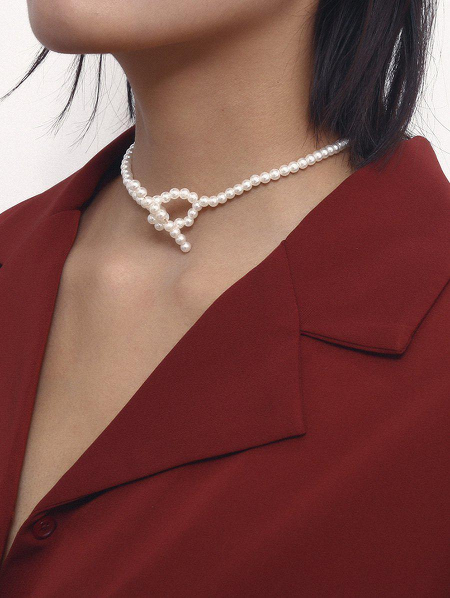 Beaded Artificial Pearl Short Lariat Necklace - WHITE