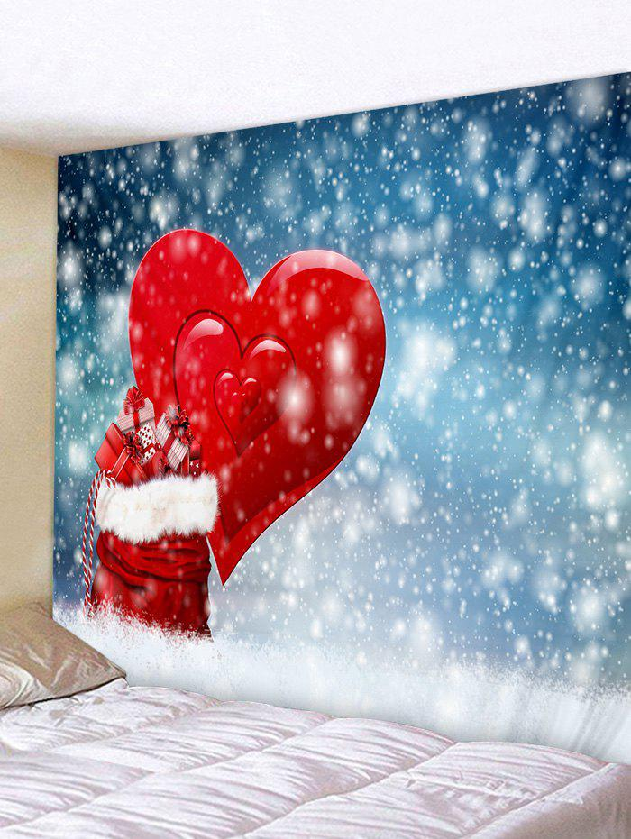 Christmas Gifts Heart Snowfield Print Tapestry Wall Hanging Art Decoration - RED W59 X L51 INCH
