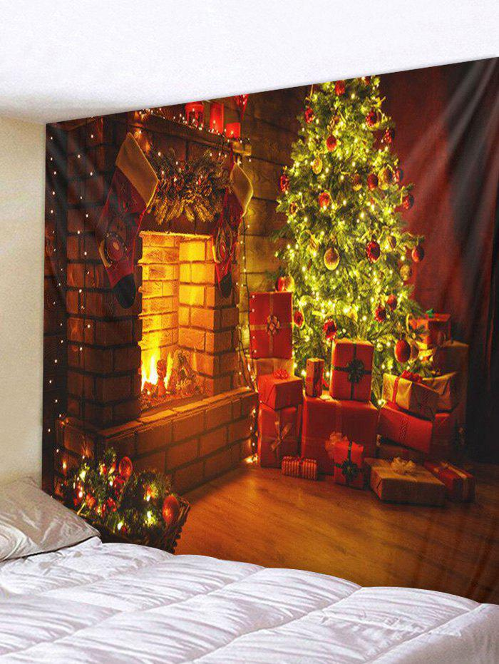 Christmas Tree Gifts Fireplace Print Tapestry Wall Hanging Decor - multicolor W59 X L59 INCH