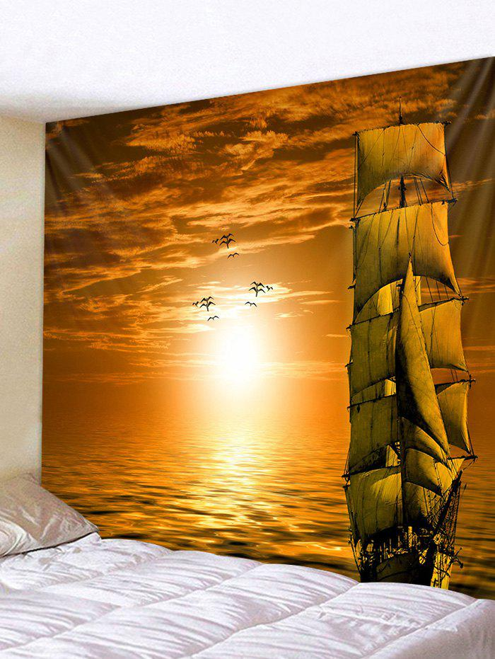 Sunset Ocean Ship Print Tapestry Wall Hanging Art Decoration - BRIGHT YELLOW W59 X L51 INCH