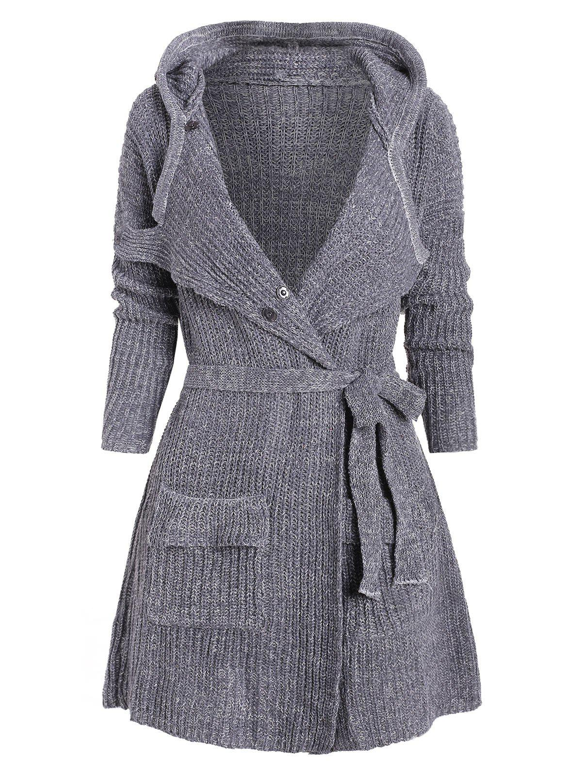 Hooded Drop Shoulder Belted Longline Cardigan - GRAY ONE SIZE