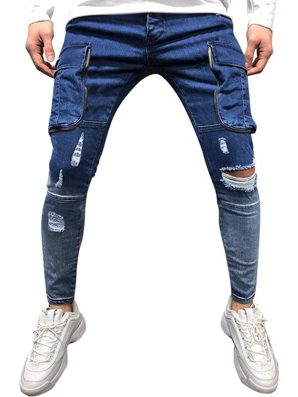 Solid Color Ripped Pocket Zipper Jeans - OCEAN BLUE XL