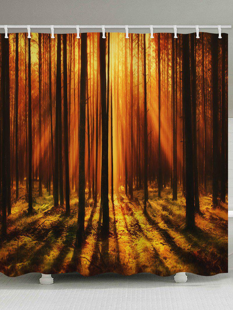 Sunset Forest Print Waterproof Bathroom Shower Curtain - multicolor W71 X L71 INCH