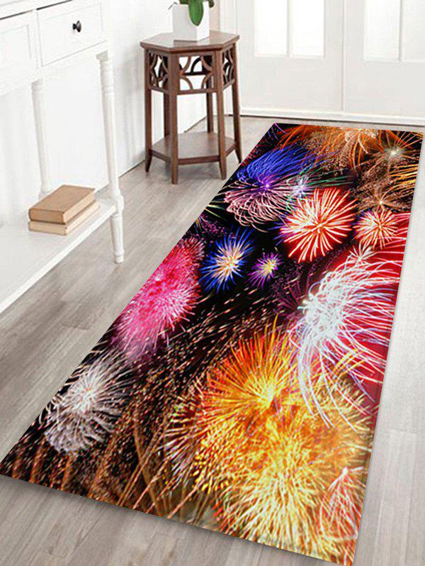 Christmas Firework Patterned Water Absorption Area Rug - multicolor A W24 X L71 INCH