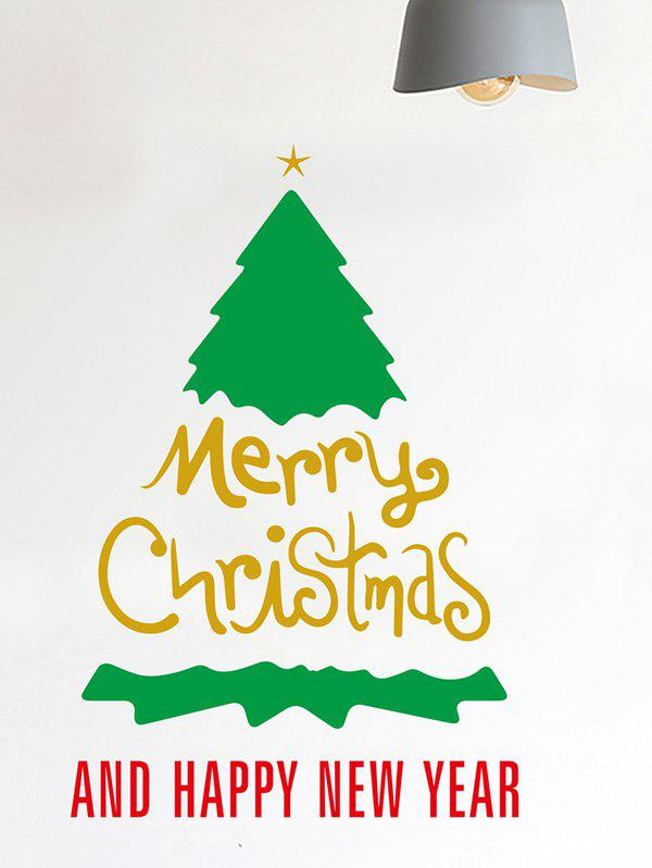 Christmas Tree Greeting Print Decorative Wall Art Stickers - multicolor 25*38CM+11*20CM+20*35CM