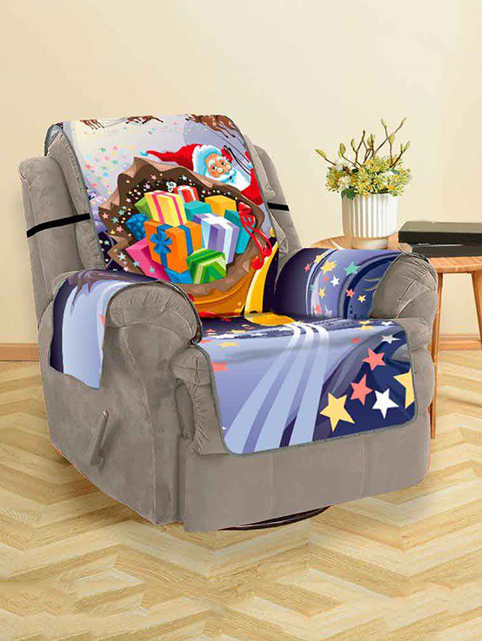 Christmas Santa Claus Gifts Moon Pattern Couch Cover - multicolor SINGLE SEAT