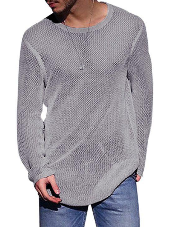 Plain Open Knit Pullover Sweater - GRAY S