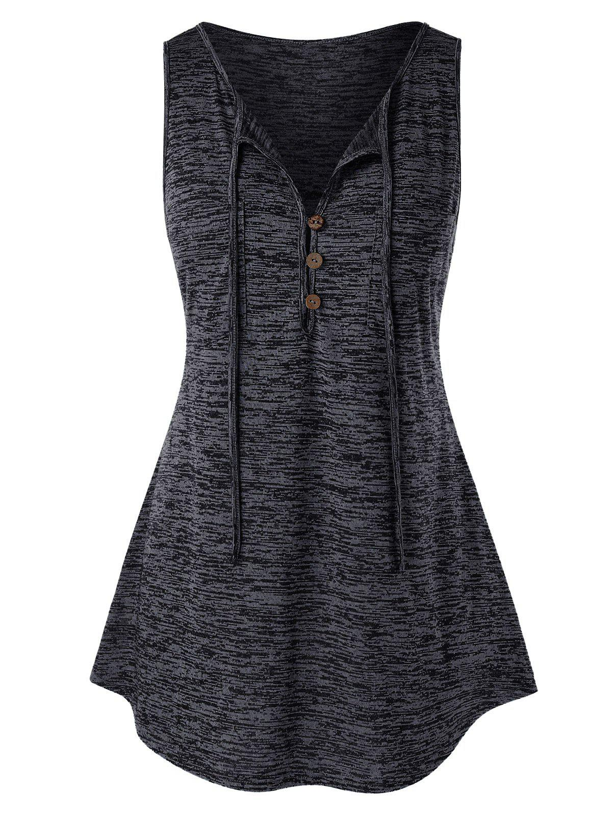 Plus Size Button Embellished Vest - DARK SLATE GREY 3X