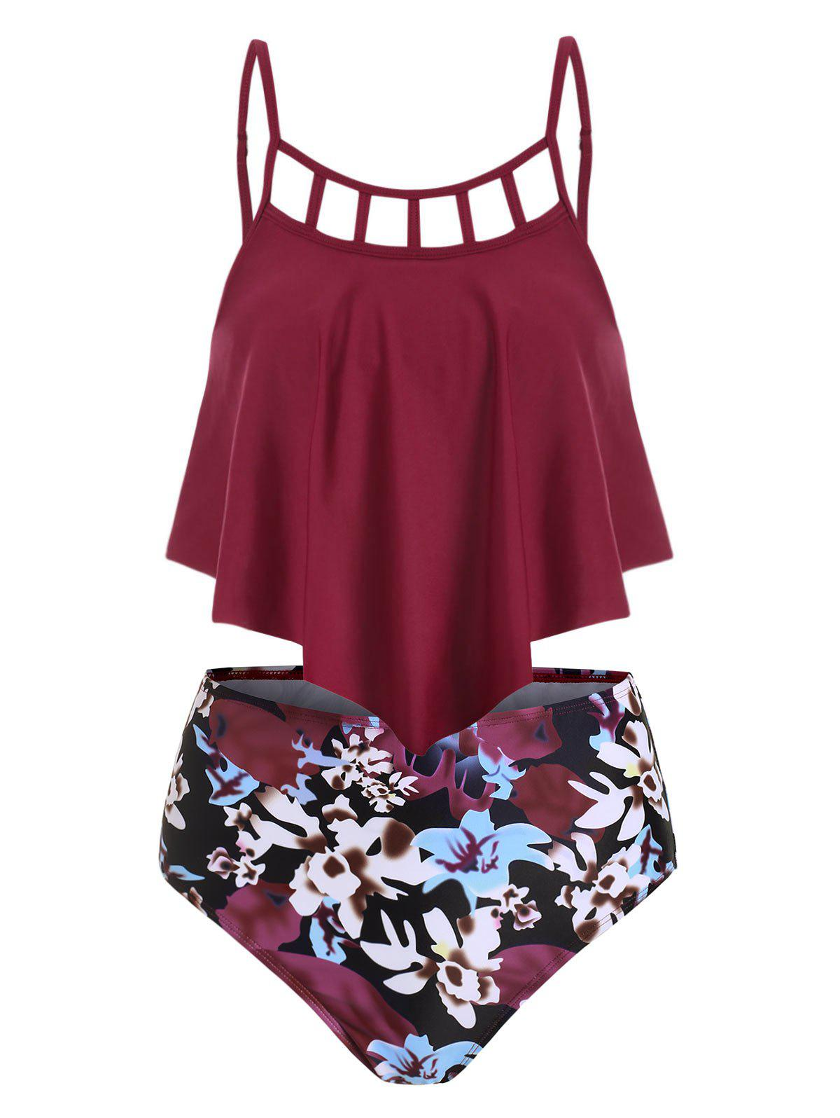 Flower Lattice Flounce Overlay High Waisted Tankini Swimsuit - RED WINE M