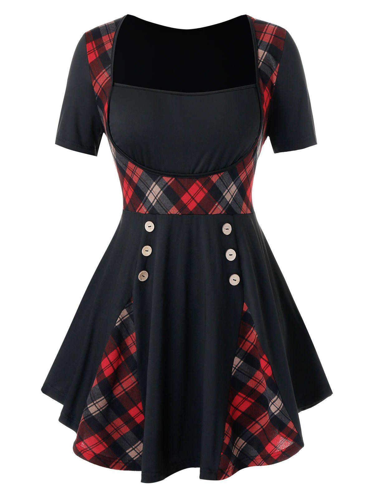 Plus Size Plaid Buttoned Skirted T Shirt - BLACK 3X