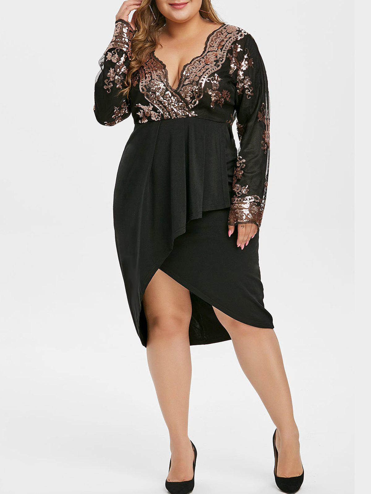 Plus Size Sequined Asymmetric Surplice Dress - BLACK 3X