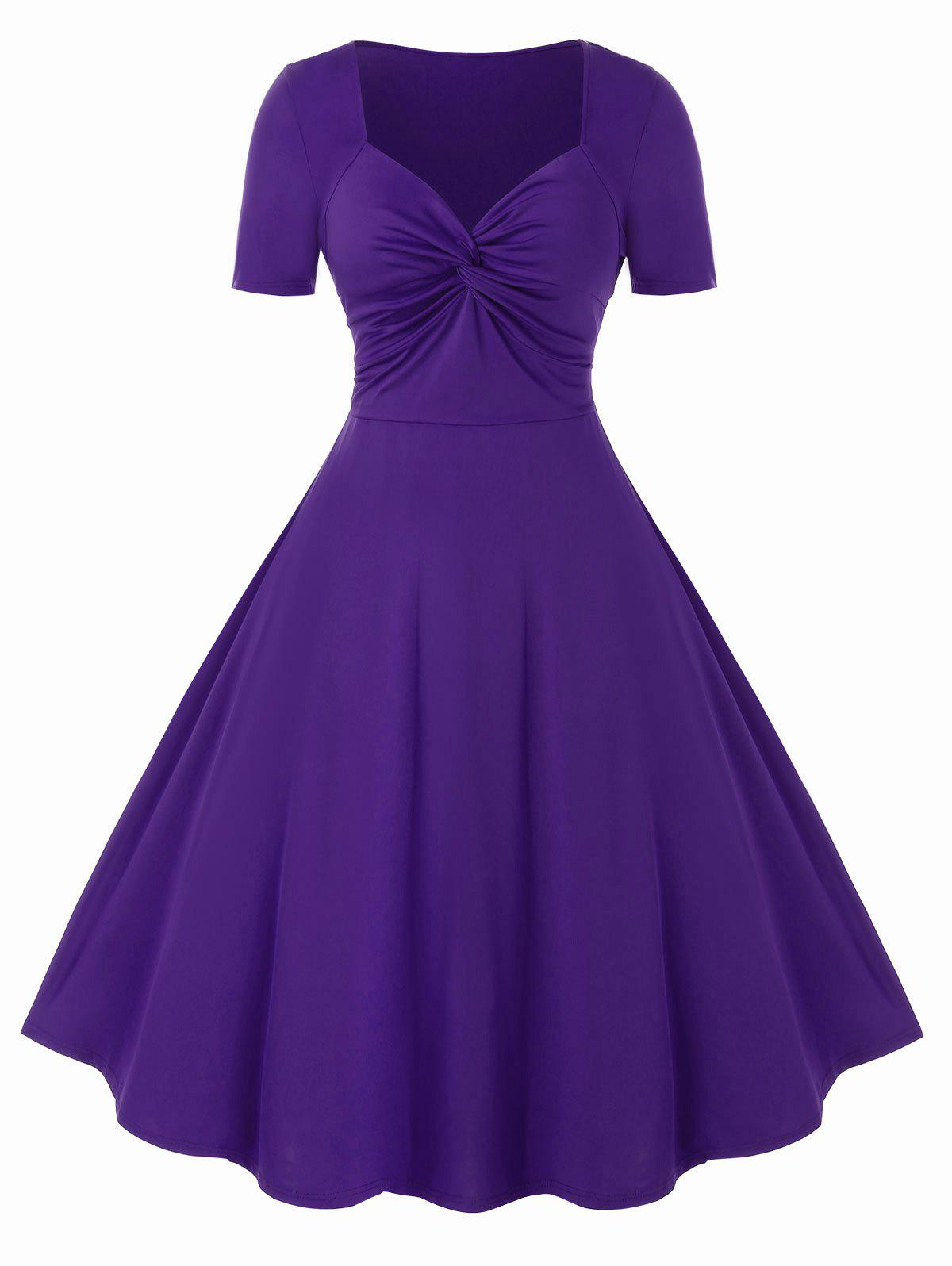Plus Size Knot Dress - PURPLE IRIS 1X