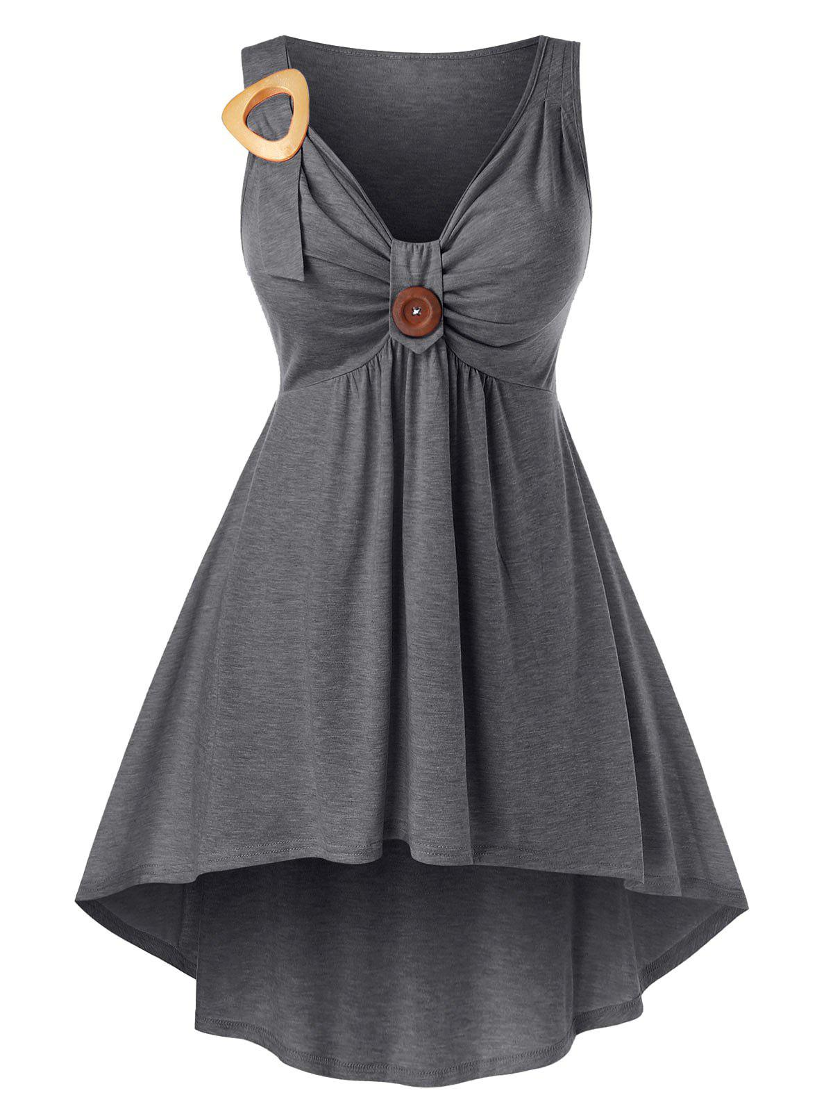 Plus Size Front Knot High Low Tank Top - DARK GRAY L