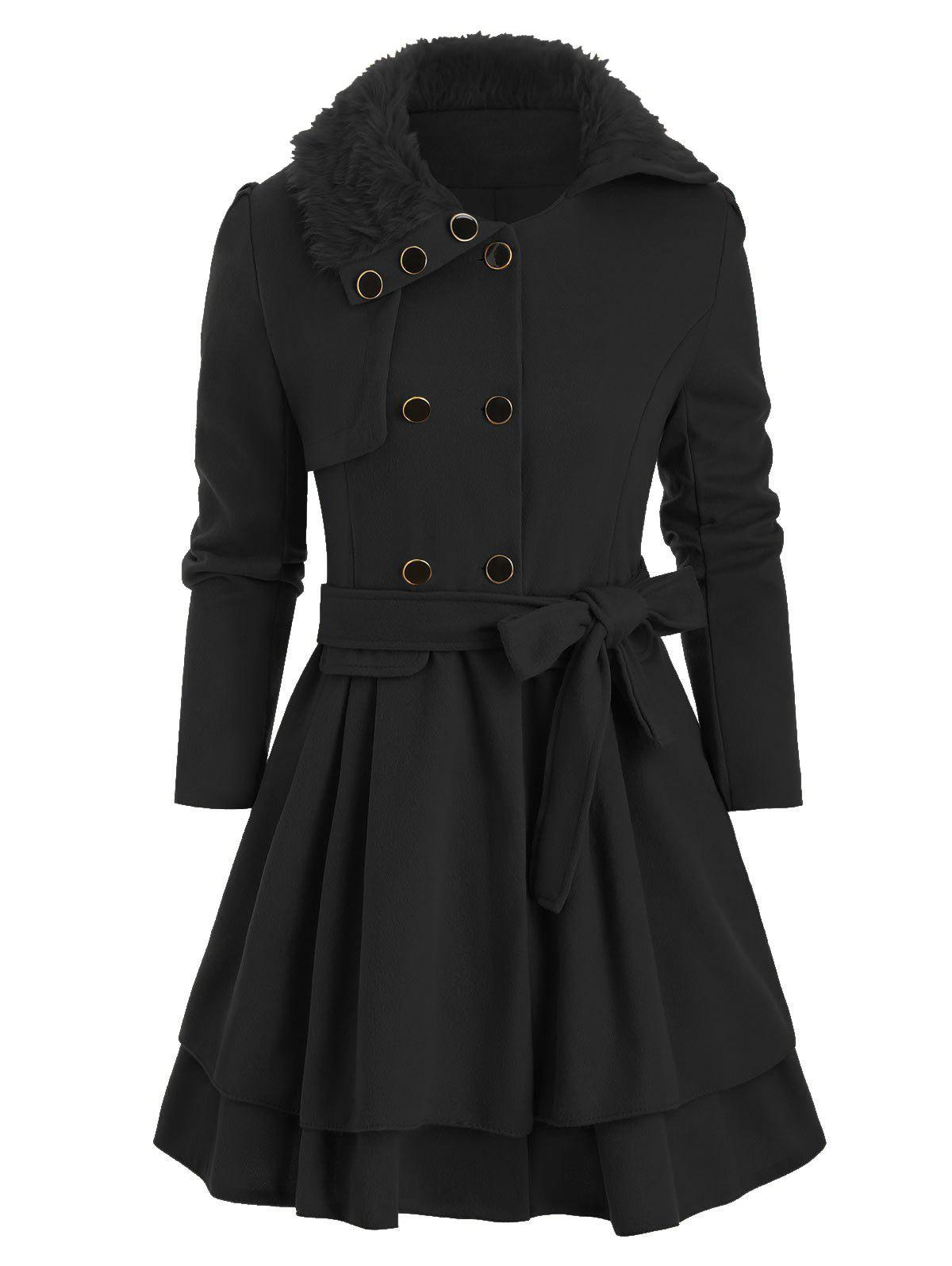 Faux Fur Collar Double Breasted Wool Blend Coat - BLACK M
