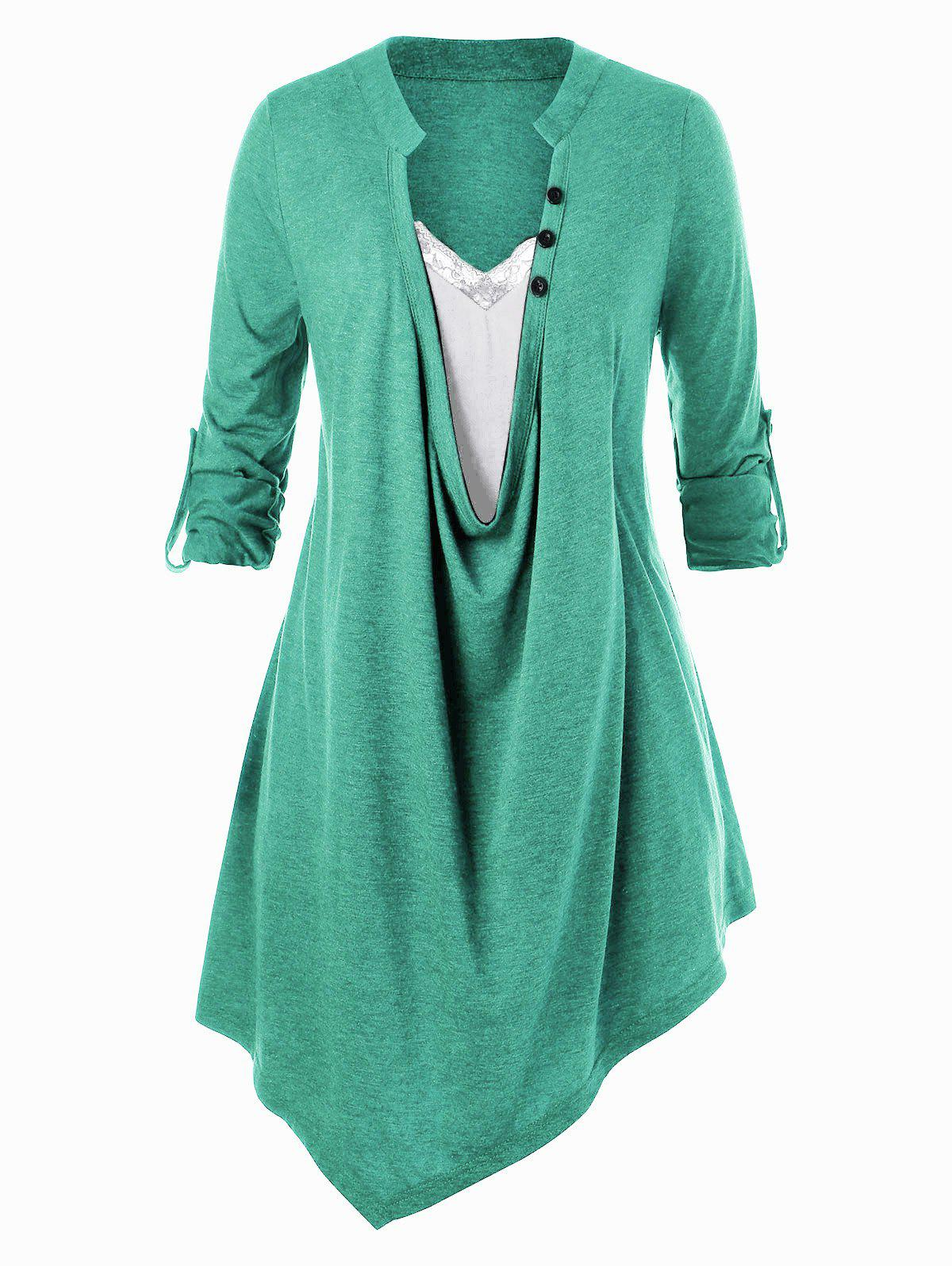 Plus Size Lace Panel Asymmetric Top - MACAW BLUE GREEN L