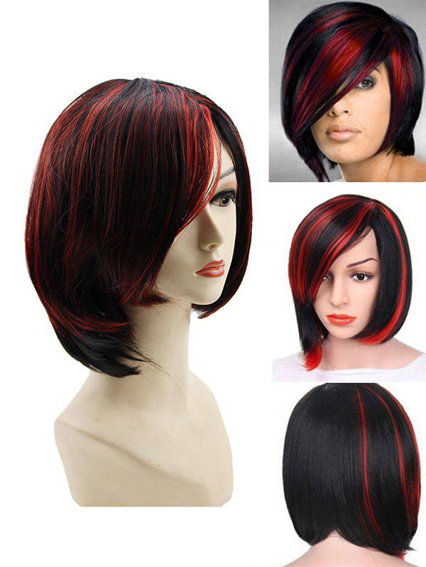 Side Bang Short Colormix Straight Capless Synthetic Wig - CHESTNUT RED