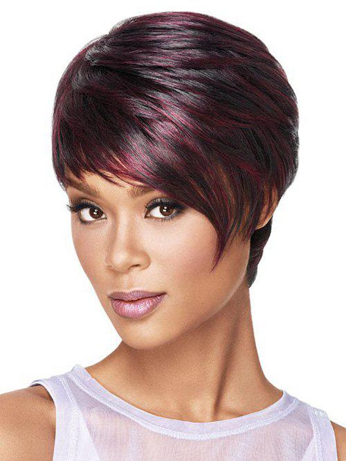 Oblique Fringe Short Colormix Straight Synthetic Wig - RED WINE
