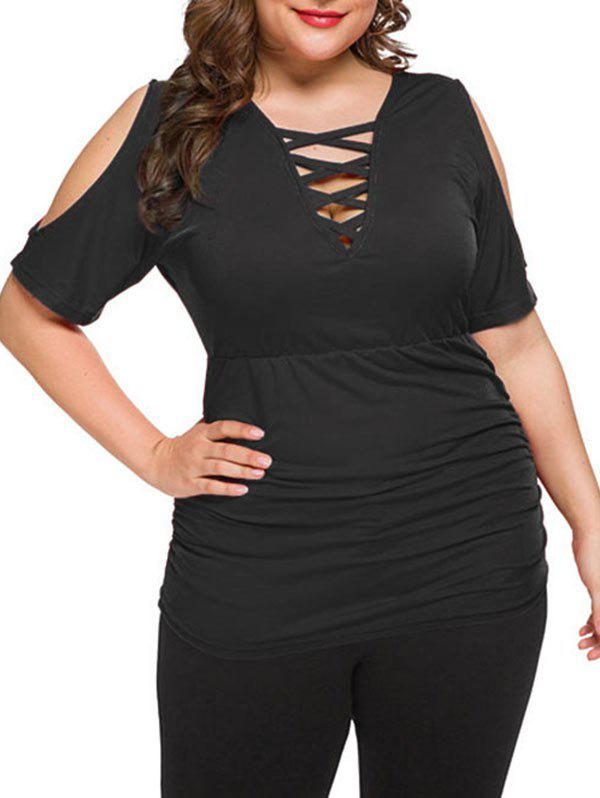 Plus Size Cold Shoulder Plunge Criss Cross T Shirt - BLACK 4X