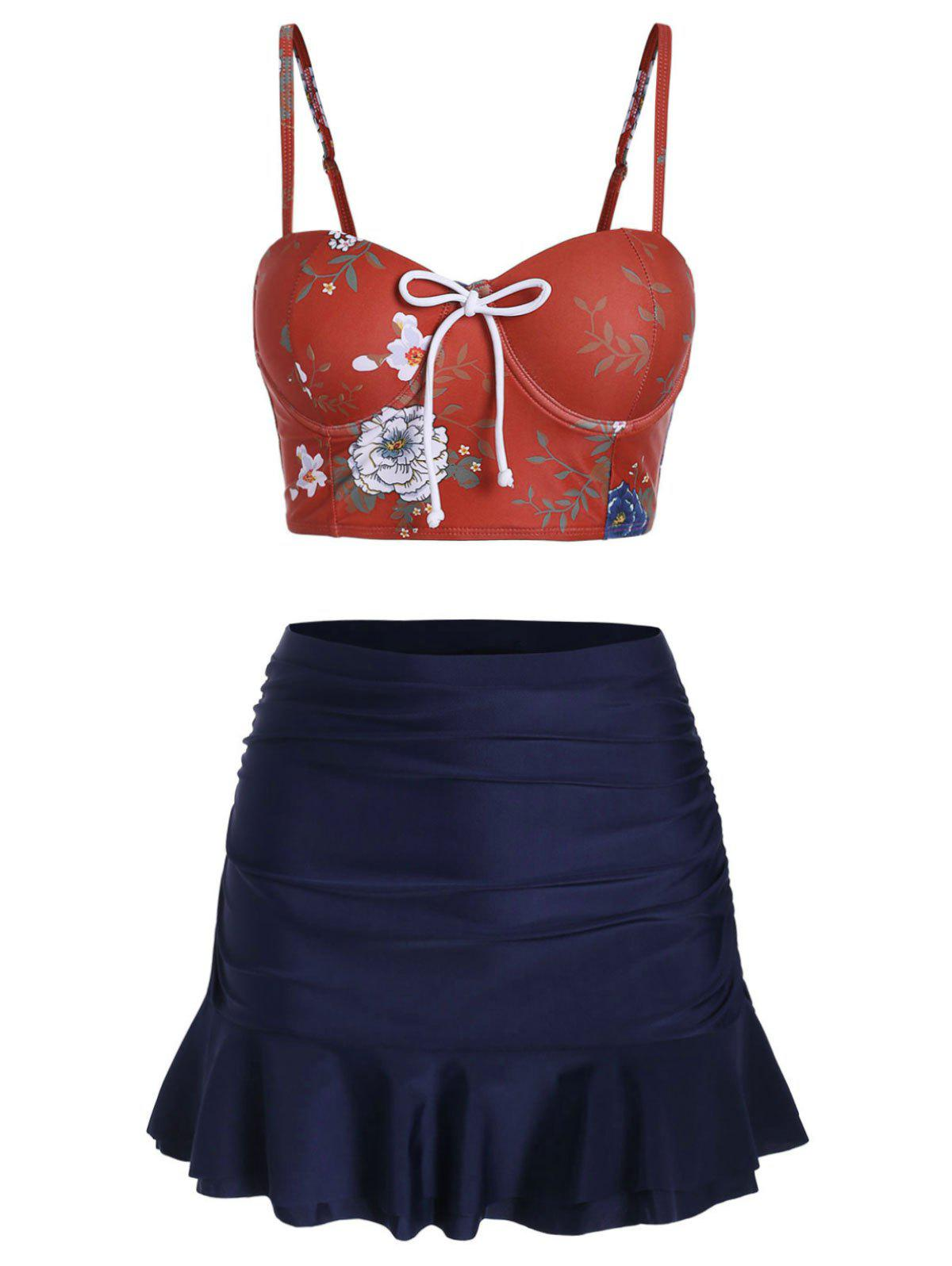 Floral Push Up Skirted Tankini Set - CHERRY RED M