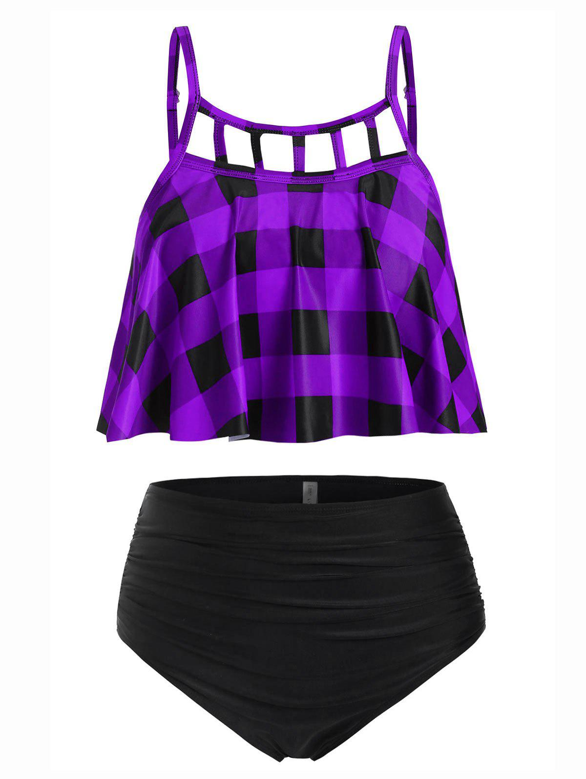 Plus Size Cut Out Plaid Tankini Swimsuit - PURPLE 5X