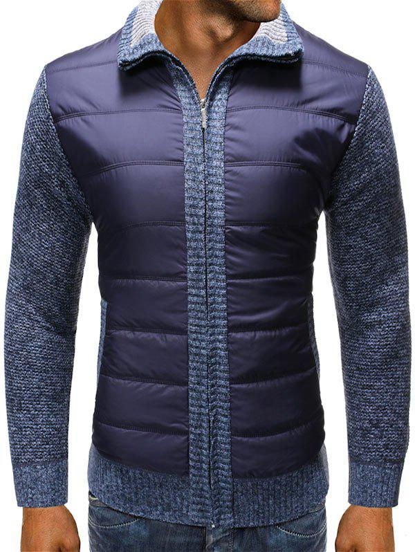 Casual Padded Spliced Zipper Cardigan - CADETBLUE M