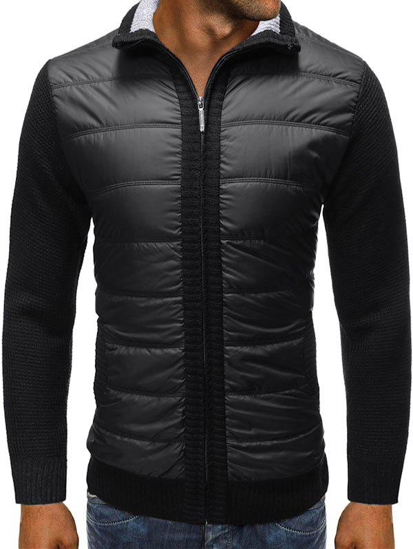 Casual Padded Spliced Zipper Cardigan - BLACK M