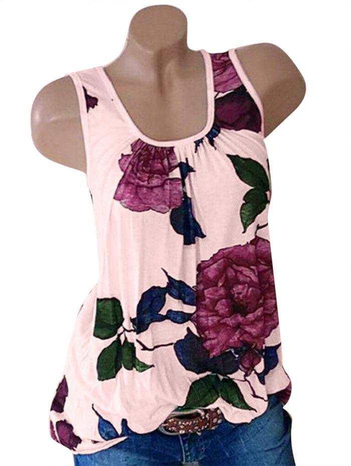 Plus Size Floral Print Sleeveless Top - PINK 2X