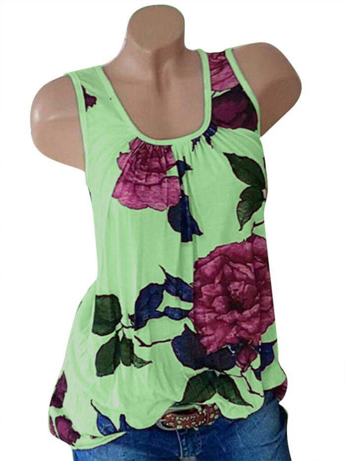 Plus Size Floral Print Sleeveless Top - GREEN APPLE 1X