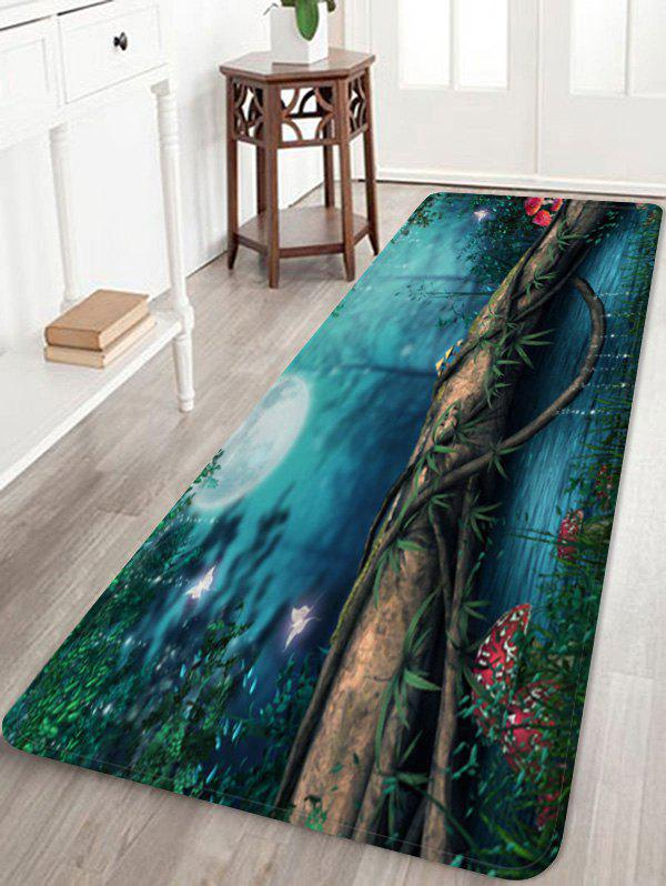 Moon Night Forest River Pattern Water Absorption Area Rug - multicolor A W16 X L47 INCH